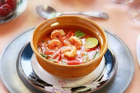 Thai traditional Tom Yum Kung soup  Note to editor:  photo