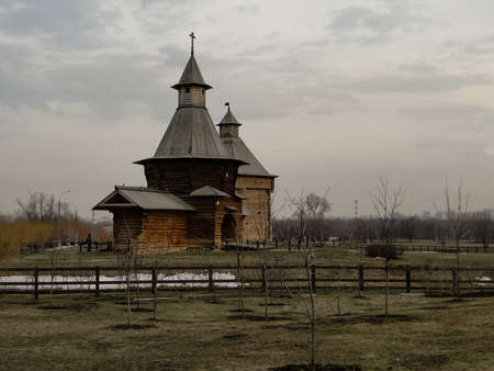 love dome: Wooden church in the spring in cloudy weather 001