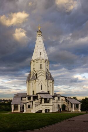 metropolis image: church on a background of sky and clouds