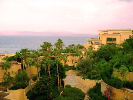 On the bank of the Dead Sea in the morning time.