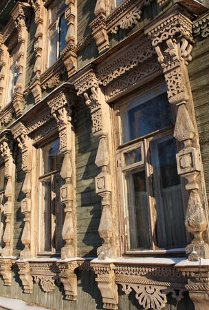 Window trims of wooden house in the historic part of Ryazan, near the Kremlin