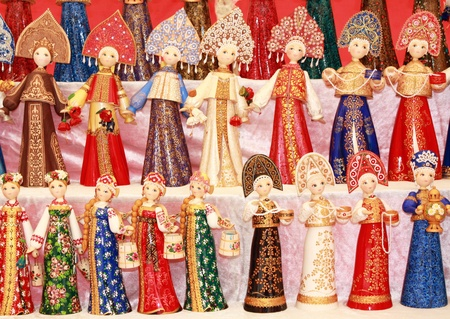Dolls in traditional Russian womens dresses