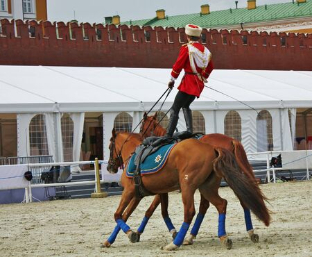 Gait training of horse riders before the show  on  the Red Square in Moscow