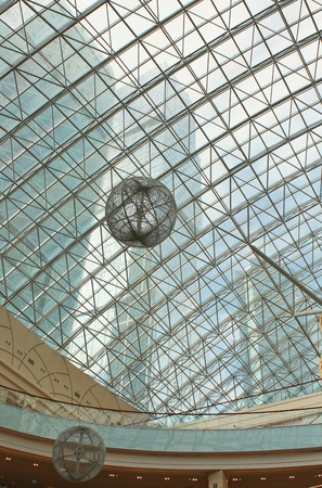 Glass dome in the shopping center business center