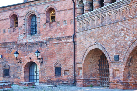 View of  courtyard of Krutitsy Monastery in Moscow. Built in 1693-1694