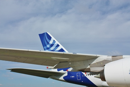 Wing, fuselage and  turbine of the largest passenger aircraft A 380