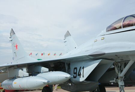 air show: Sukhoy fighter at the  Moscow Air Show MAKS 2011