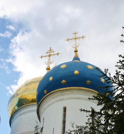 Churchies of the Trinity Sergius Lavra are a classic monument of Russian baroque of eighteenth century Stock Photo