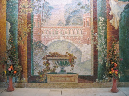 Mosaics in the hall of the International Trade Center in Moscow