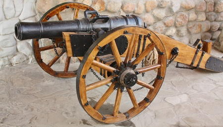 castings: artillery gun.  Cast iron, castings, size 127-128 mm. Russia, XVIII century Stock Photo