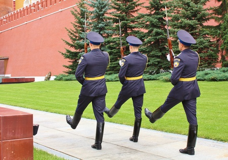 Ceremony of exhibiting of the guard on a post � 1 at the Kremlin wall in Moscow