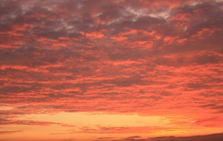 Red clouds in the morning autumn sky Stock Photo