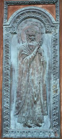 orthodoxy: The icon of the Orthodox saint made with bas-relief technique