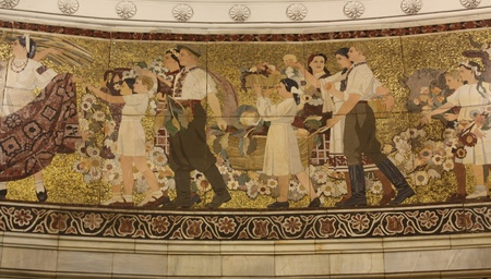 Mosaic at the station Kievskaya of the Moscow subway , mid-fifties