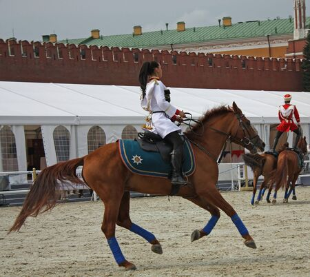 gait: Gait training of horse riders before the show  on  the Red Square in Moscow