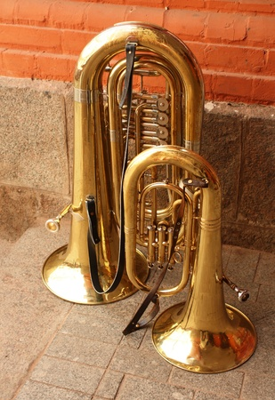 Tuba (Italian from the Latin tuba - �pipe, Eng. Tuba, it. Tuba, fr. Tube) - shirokomenzurny brass wind musical instrument, the lowest in the register Stock Photo