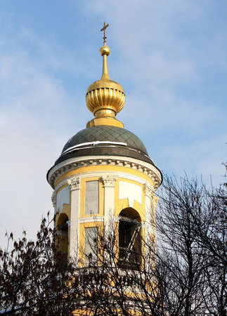 seventeenth: Domes of the orthodox church,  built in the seventeenth century in Moscow Stock Photo