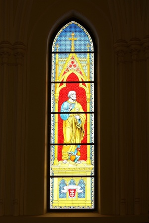 Stained glass in the Lutheran church built in the early twentieth century photo