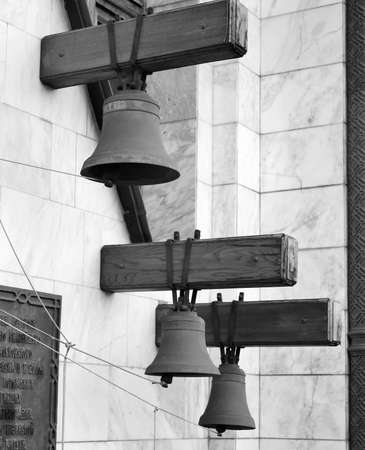 Church bells at the entrance of the Church of St. John the Warrior photo