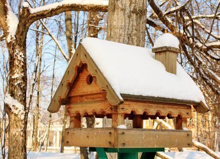House for heating and feeding birds in winter park