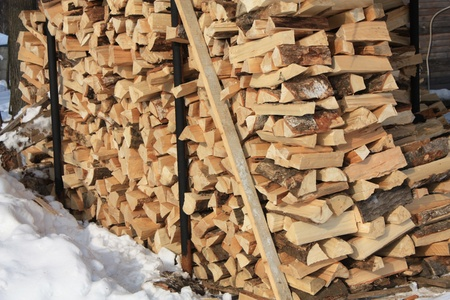 Warehouse of firewood in the winter rural yard Stock Photo - 13287909