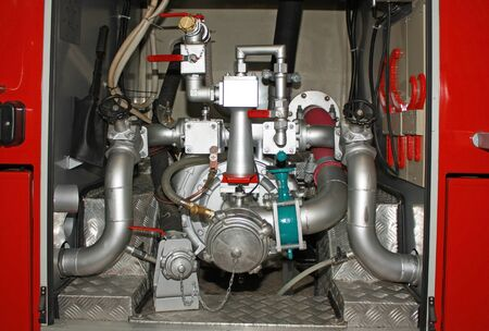 fire extinguishing: Engine pipes and plumbing fixtures  faucets, valves, gate valves, valves  connecting to the pump tank, filled with fire extinguishing agents