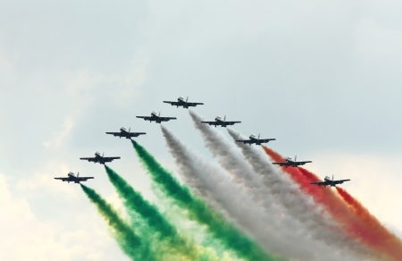 Frecce Tricolori  Italian, literally Tricolour Arrows , is the aerobatic demonstration team of the Italian Aeronautica Militare