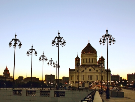 Cathedral of Christ  the Savior in Moscow after sunset photo