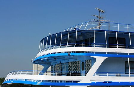 white and blue passenger cruise ship before being sent on a voyage Stock Photo - 15428484