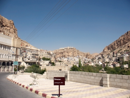 Syrian town Maalula, view to the orthodox monastery in rocks