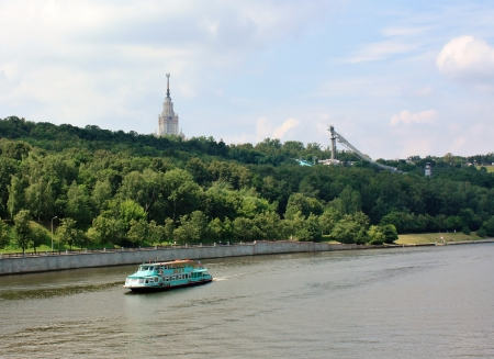 View of the Moscow River in the summer evening Stock Photo