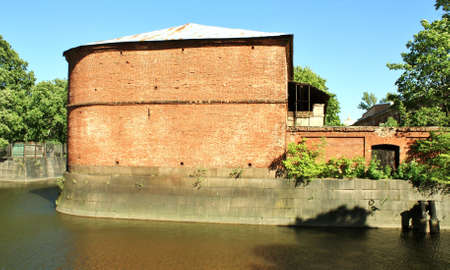 Functional building along the Bypass Canal in Kronstadt Stock Photo