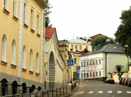 Street of the historic part of the russian town Stock Photo
