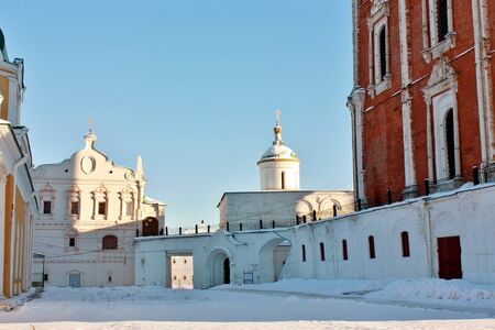 View of the space among Uspensky Cathedral  and small church in Ryazan Kremlin photo