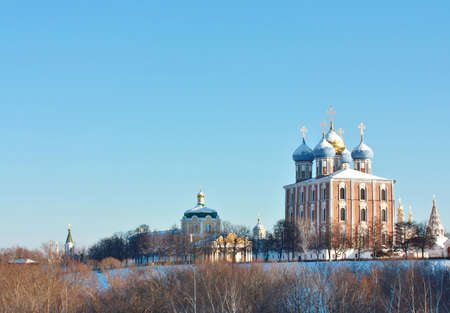 Domes of the Uspensky Cathedral  and ancient churchies of the Ryazan Kremlin photo