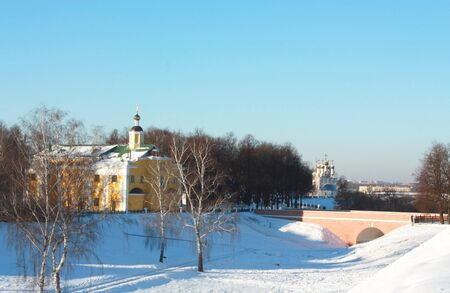 Ryazan, view of the Church of Our Saviour on the bluff behind the bridge photo