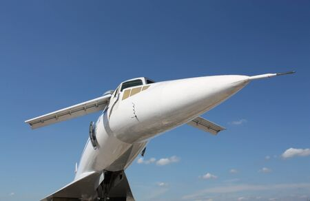 Front view  of the  supersonic passenger aircraft  photo