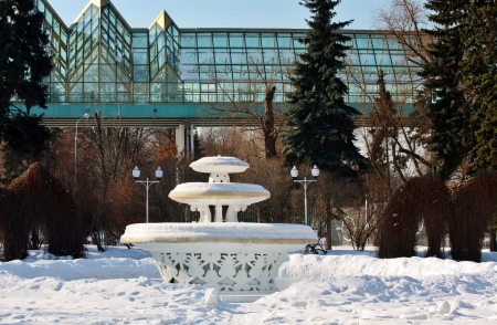 nonworking: Non-working fountain in a deserted park in winter