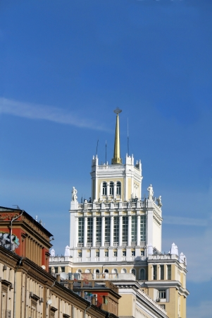 building monumental: Monumental tiered white building with columns and spire Stock Photo