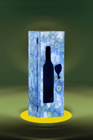 donative: Light blue box of a wine bottle with patterns