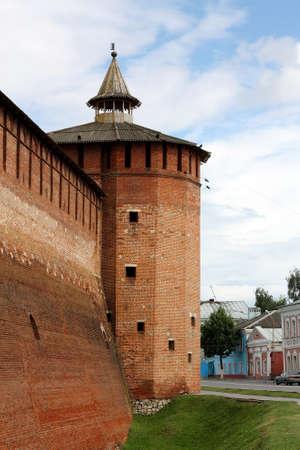 Wall and red brick wall tower in Kolomna Kremlin