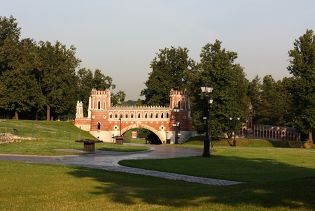 the tsaritsyno: Figured bridge in Tsaritsyno estate in Moscow, Russia