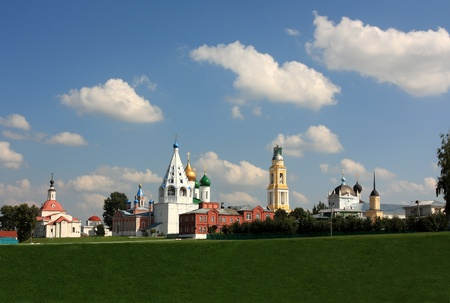 General view of ancient Kremlin in the Kolomna with splendid temples, cathedrals and massive fortress wall photo