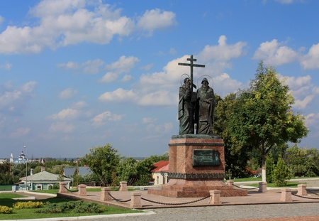 the kremlin: Cyril and Methodius are founders of slavic literature  The monument was erected in the Kolomna Kremlin