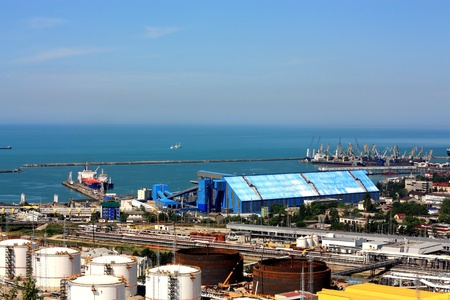 Marine cargo port with the oil, chemical and freight terminals photo