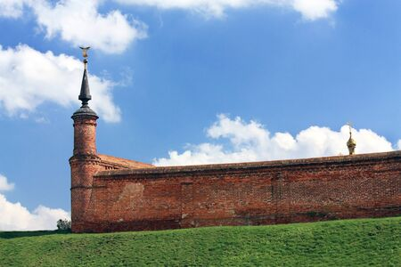 Stone old-time wall with turret  of the medieval Kolomna Kremlin
