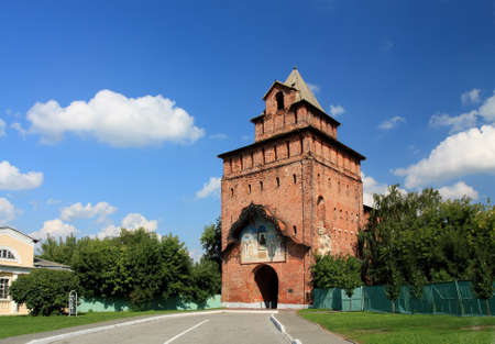 Stone old-time tower of the medieval russian Kremlin in Kolomna