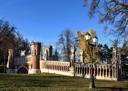 the tsaritsyno: Figured Gate of the Park Tsaritsyno in the south of Moscow