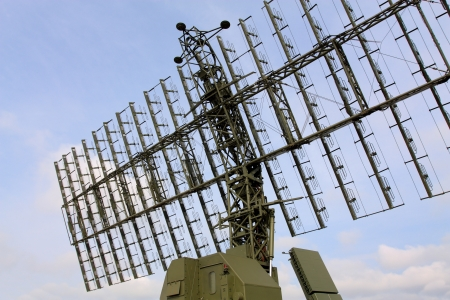 All-around antenna for air defense complex on a rotating platform Stock Photo