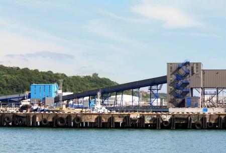 Port berth with material handling equipment  photo